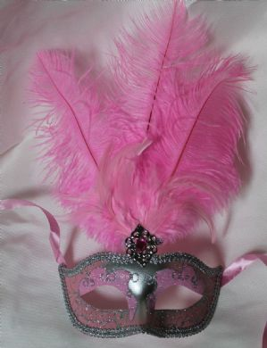 Pink and Silver Masquerade Mask - Feather Mask | Masks and Tiaras